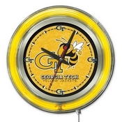 Georgia Tech Double Neon Ring, Logo Clock by Holland Bar Stool Company