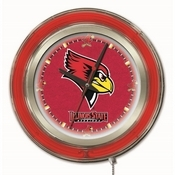 Illinois State Double Neon Ring, Logo Clock by Holland Bar Stool Company