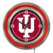 Indiana Double Neon Ring, Logo Clock by Holland Bar Stool Company