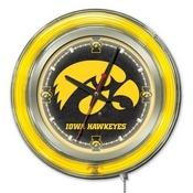 Iowa Double Neon Ring, Logo Clock by Holland Bar Stool Company