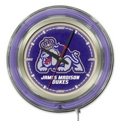 James Madison Double Neon Ring, Logo Clock by Holland Bar Stool Company