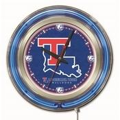 Louisiana Tech Double Neon Ring, Logo Clock by Holland Bar Stool Company