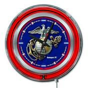 U.S. Marines Double Neon Ring, Logo Clock by Holland Bar Stool Company