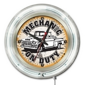 Mechanic on Duty Double Neon Ring, Logo Clock by Holland Bar Stool Company