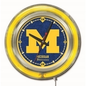 Michigan Double Neon Ring, Logo Clock by Holland Bar Stool Company