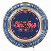 Ole' Miss Double Neon Ring, Logo Clock by Holland Bar Stool Company