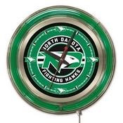 North Dakota Double Neon Ring, Logo Clock by Holland Bar Stool Company