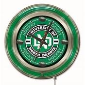 North Dakota Hockey Double Neon Ring, Logo Clock by Holland Bar Stool Company