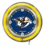 Nashville Predators Double Neon Ring, Logo Clock by Holland Bar Stool Company