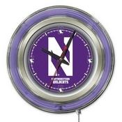 Northwestern Double Neon Ring, Logo Clock by Holland Bar Stool Company