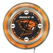 Oregon State Double Neon Ring, Logo Clock by Holland Bar Stool Company