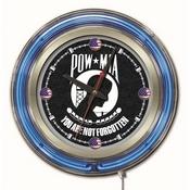 POW/MIA Double Neon Ring, Logo Clock by Holland Bar Stool Company
