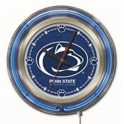 Penn State Double Neon Ring, Logo Clock by Holland Bar Stool Company