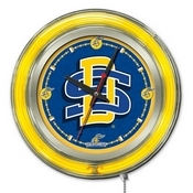 South Dakota State Double Neon Ring, Logo Clock by Holland Bar Stool Company
