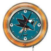 San Jose Sharks Double Neon Ring, Logo Clock by Holland Bar Stool Company
