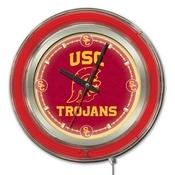 USC Trojans Double Neon Ring, Logo Clock by Holland Bar Stool Company