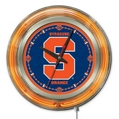 Syracuse Double Neon Ring, Logo Clock by Holland Bar Stool Company