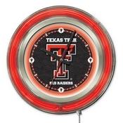 Texas Tech Double Neon Ring, Logo Clock by Holland Bar Stool Company