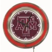Texas A&M Double Neon Ring, Logo Clock by Holland Bar Stool Company