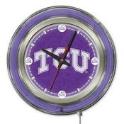 TCU Double Neon Ring, Logo Clock by Holland Bar Stool Company