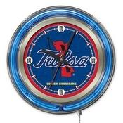 Tulsa Double Neon Ring, Logo Clock by Holland Bar Stool Company
