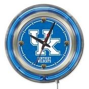 Kentucky UK Double Neon Ring, Logo Clock by Holland Bar Stool Company