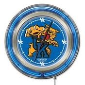 Kentucky Wildcat Double Neon Ring, Logo Clock by Holland Bar Stool Company