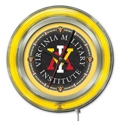 Virginia Military Institute Double Neon Ring, Logo Clock by Holland Bar Stool Company
