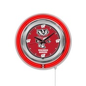 Wisconsin Badger Double Neon Ring, Logo Clock by Holland Bar Stool Company