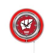 Wisconsin W Double Neon Ring, Logo Clock by Holland Bar Stool Company