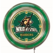 Wright State Double Neon Ring, Logo Clock by Holland Bar Stool Company