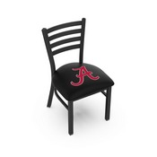 L00418 Black Wrinkle Alabama (Script A) Logo Stationary Chair with Ladder Style Back by Holland Bar Stool Co.