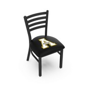 L00418 Black Wrinkle Appalachian State Stationary Chair with Ladder Style Back by Holland Bar Stool Co.
