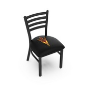L00418 Black Wrinkle Arizona State Stationary Chair with Ladder Style Back and Pitchfork Logo by Holland Bar Stool Co.