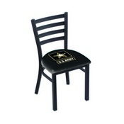 L00418 Black Wrinkle U.S. Army Stationary Chair with Ladder Style Back by Holland Bar Stool Co.