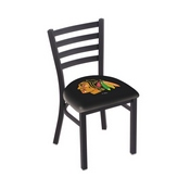 L00418 Black Wrinkle Chicago Blackhawks Stationary Chair with Ladder Style Back by Holland Bar Stool Co.
