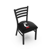 L00418 Black Wrinkle Cincinnati Stationary Chair with Ladder Style Back by Holland Bar Stool Co.