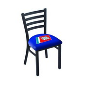 L00418 Black Wrinkle U.S. Coast Guard Stationary Chair with Ladder Style Back by Holland Bar Stool Co.