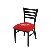 L00418 Black Wrinkle Detroit Red Wings Stationary Chair with Ladder Style Back by Holland Bar Stool Co.