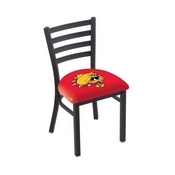 L00418 Black Wrinkle Ferris State Stationary Chair with Ladder Style Back by Holland Bar Stool Co.