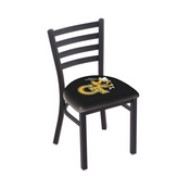 L00418 Black Wrinkle Georgia Tech Stationary Chair with Ladder Style Back by Holland Bar Stool Co.