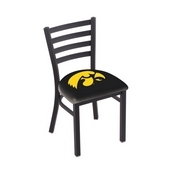 L00418 Black Wrinkle Iowa Stationary Chair with Ladder Style Back by Holland Bar Stool Co.