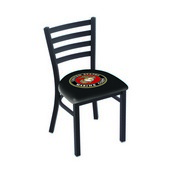 L00418 Black Wrinkle U.S. Marines Stationary Chair with Ladder Style Back by Holland Bar Stool Co.