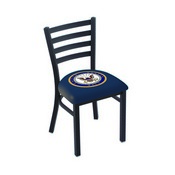 L00418 Black Wrinkle U.S. Navy Stationary Chair with Ladder Style Back by Holland Bar Stool Co.