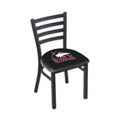 L00418 Black Wrinkle Northern Illinois Stationary Chair with Ladder Style Back by Holland Bar Stool Co.