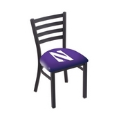 L00418 Black Wrinkle Northwestern Stationary Chair with Ladder Style Back by Holland Bar Stool Co.