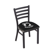 L00418 Black Wrinkle POW/MIA Stationary Chair with Ladder Style Back by Holland Bar Stool Co.