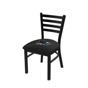 L00418 Black Wrinkle San Jose Sharks Stationary Chair with Ladder Style Back by Holland Bar Stool Co.