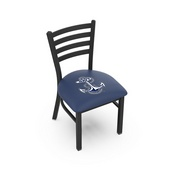 L00418 Black Wrinkle US Naval Academy (NAVY) Stationary Chair with Ladder Style Back by Holland Bar Stool Co.