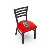 L00418 Black Wrinkle Wisconsin Badger Stationary Chair with Ladder Style Back by Holland Bar Stool Co.
